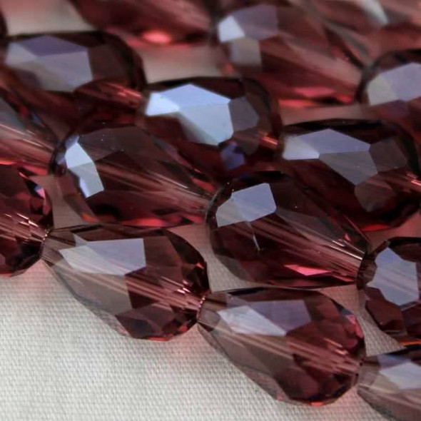 Glass Crystal 8x11mm Medium Amethyst Rounded Teardrop - approx. 8 inch strand