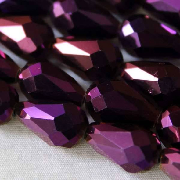 Glass Crystal 8x11mm Purple Rainbow Rounded Teardrop - approx. 8 inch strand