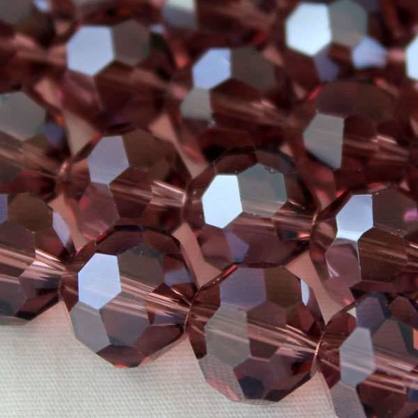 Glass Crystal Faceted 10mm Medium Amethyst Round - approx. 8 inch strand