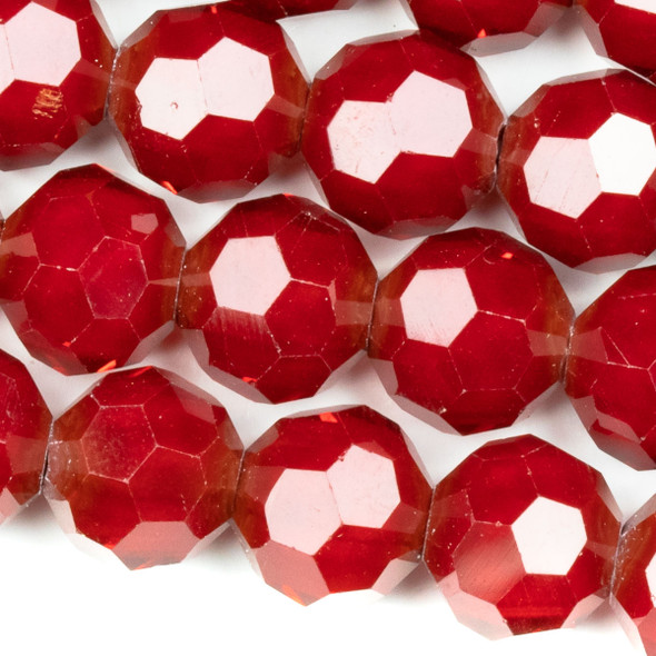 Crystal Faceted 10mm Red Velvet Round Beads - approx. 8 inch strand