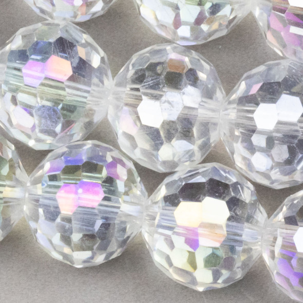 Crystal Faceted 12mm Crystal Round with an AB finish - approx. 8 inch strand