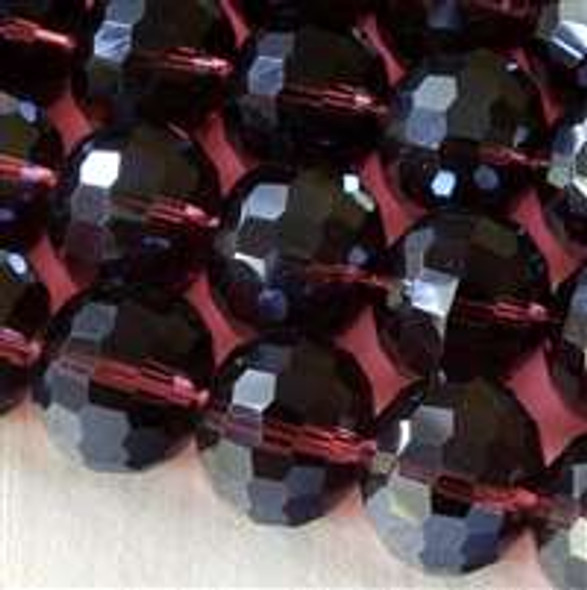 Glass Crystal Faceted 12mm Medium Amethyst Round - approx. 8 inch strand