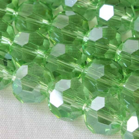 Glass Crystal Faceted 8mm Chrysolite Round - approx. 8 inch strand