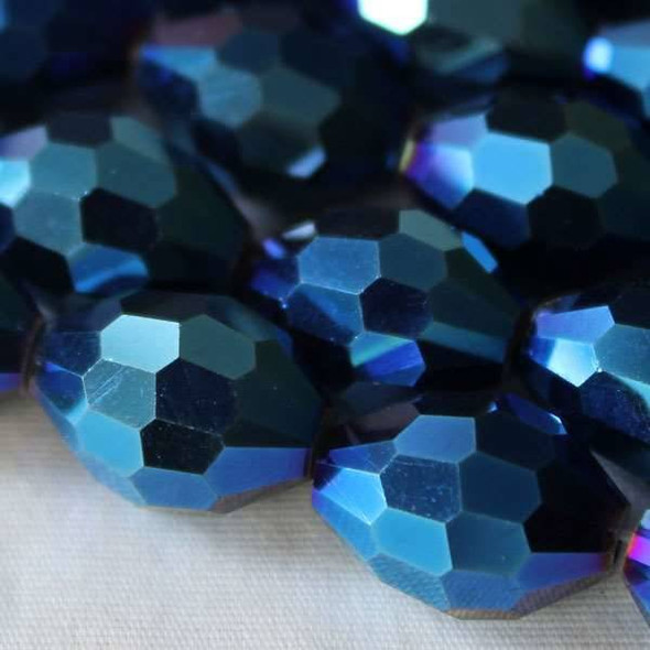 Glass Crystal Faceted 10x13mm Opaque Blue Rainbow Rice - approx. 8 inch strand