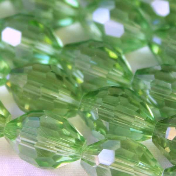Glass Crystal Faceted 10x13mm Chrysolite Rice - approx. 8 inch strand