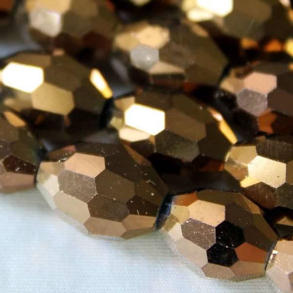 Glass Crystal Faceted 10x13mm Copper Rice - approx. 8 inch strand