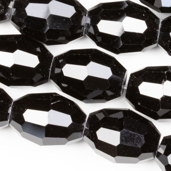 Crystal Faceted 10x13mm Jet Rice - approx. 8 inch strand