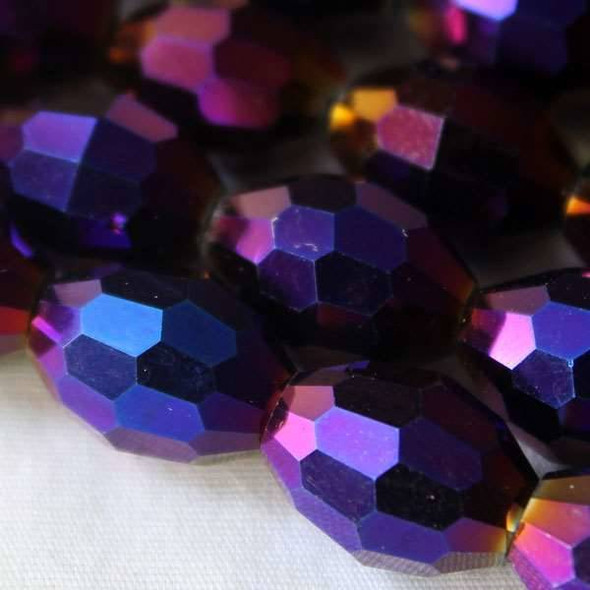 Glass Crystal Faceted 10x13mm Purple Rainbow Rice - approx. 8 inch strand