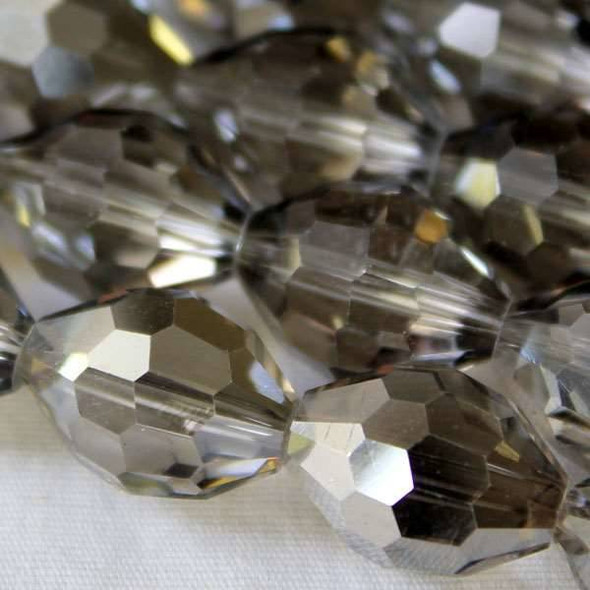 Glass Crystal Faceted 10x13mm Rainbow Rice - approx. 8 inch strand