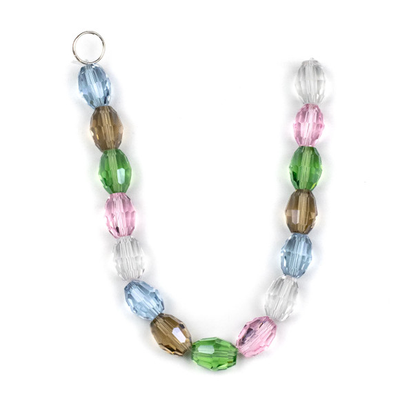 Crystal Faceted 10x13mm Rice in a Spring Mix - approx. 8 inch strand