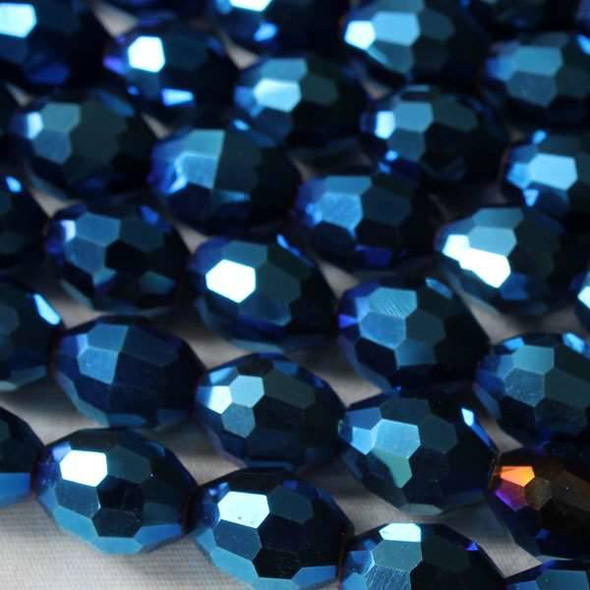 Glass Crystal Faceted 8x10mm Opaque Blue Rainbow Rice - approx. 8 inch strand
