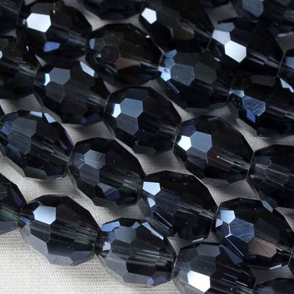Glass Crystal Faceted 8x10mm Montana Rice - 8 Inch Strand