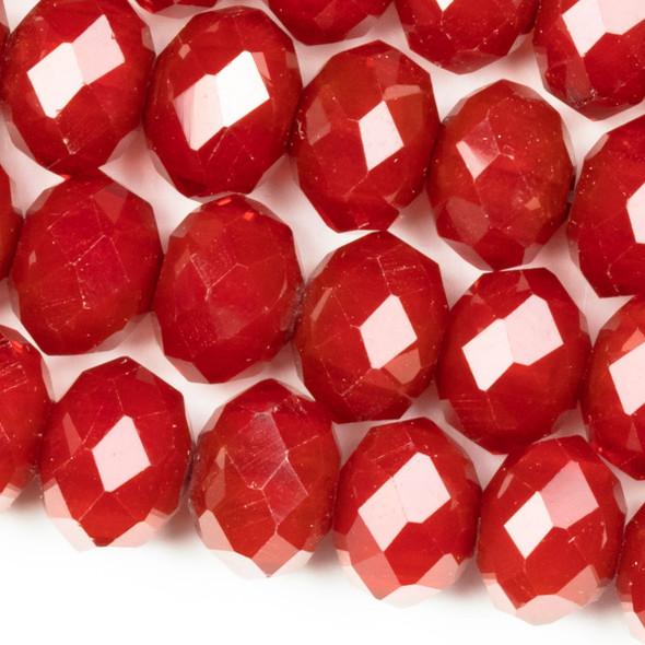 Crystal Faceted 7x10mm Red Velvet Rondelle Beads - 8 inch strand