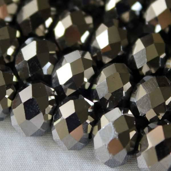 Crystal Faceted 7x10mm Silver Rondelle