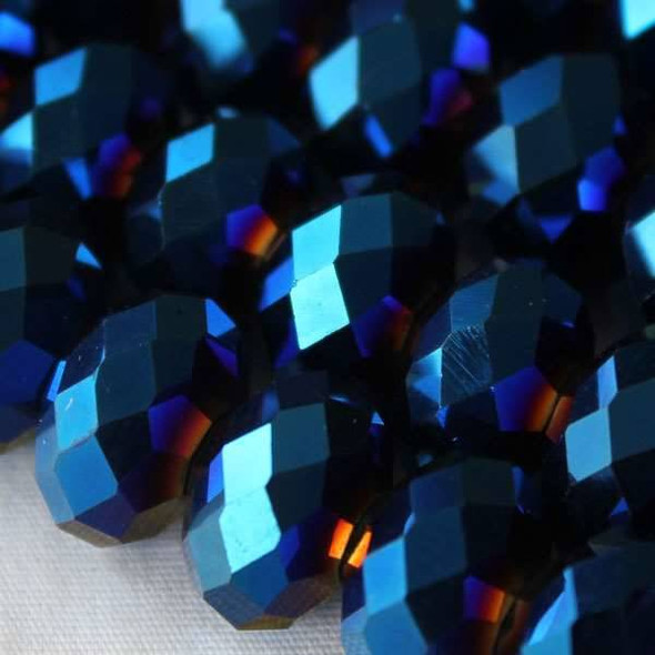 Crystal Faceted 8x12mm Opaque Blue Rainbow Rondelle