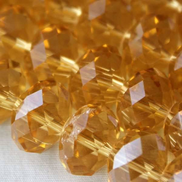 Crystal Faceted 8x12mm Champagne Rondelle