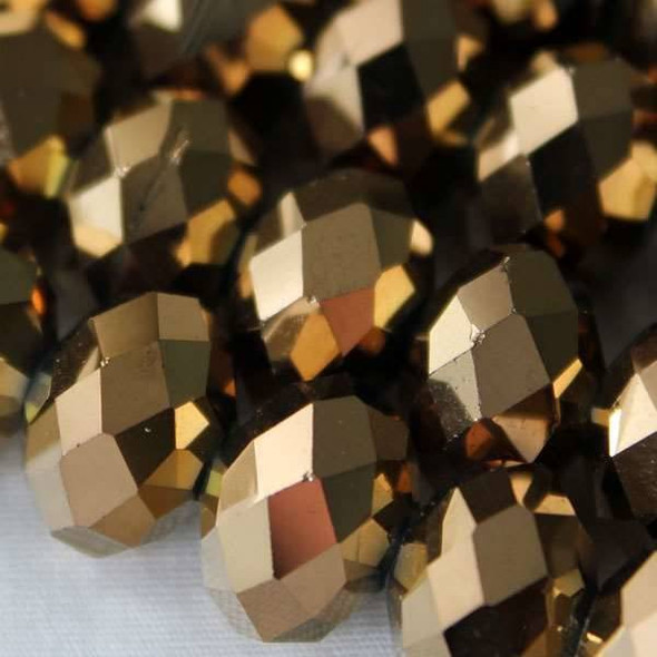 Crystal Faceted 8x12mm Copper Rondelle