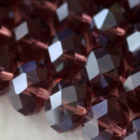 Crystal Faceted 8x12mm Medium Amethyst Rondelle