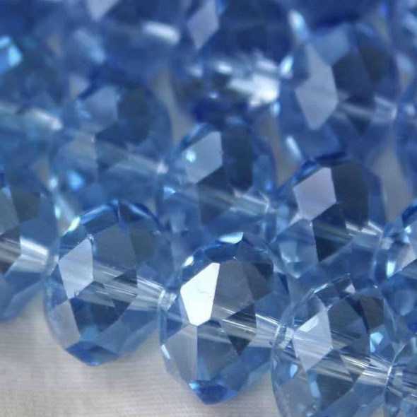 Crystal Faceted 8x12mm Medium Sapphire Rondelle