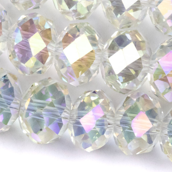 Crystal Faceted 8x12mm Pale Yellow Crystal Rondelle with an AB finish