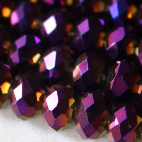 Crystal 6x8mm Purple Rainbow Faceted Rondelles