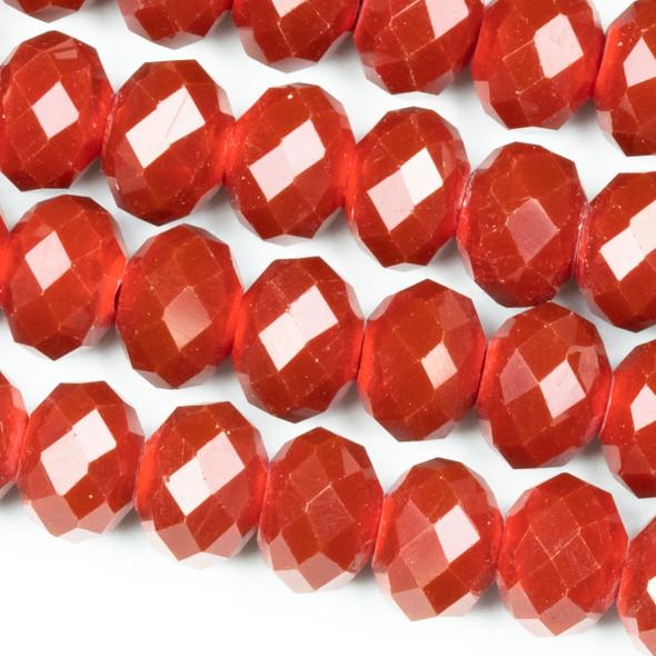 Crystal 6x8mm Red Velvet Faceted Rondelle Beads - 8 inch strand