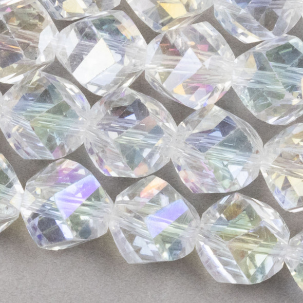Crystal Faceted 10mm Crystal 4-Sided Twisted Round/Helix with an AB finish - 8 Inch Strand