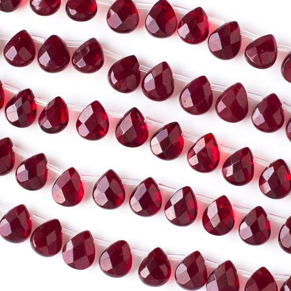 Glass Crystal 8x10mm Garnet Red Faceted Teardrop/Briolette Beads - 16 inch strand