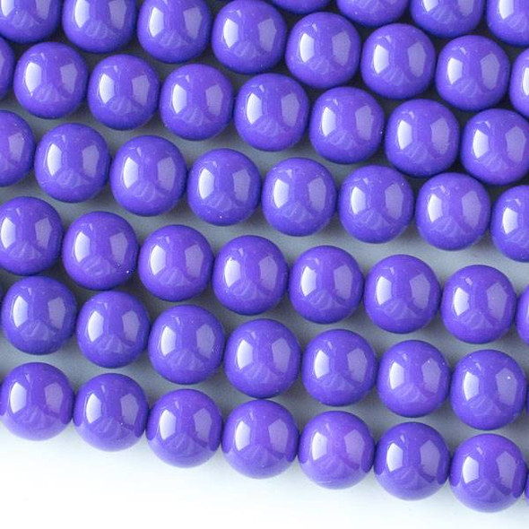 Glass 8mm Purple Round - approx. 8 inch strand