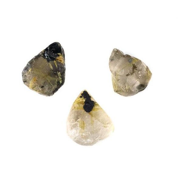 Gold Rutilated Quartz (Natural Gemstone) 10x13-12x18mm Rough/Not Polished Top Drilled Teardrop Pendant - 1 per bag