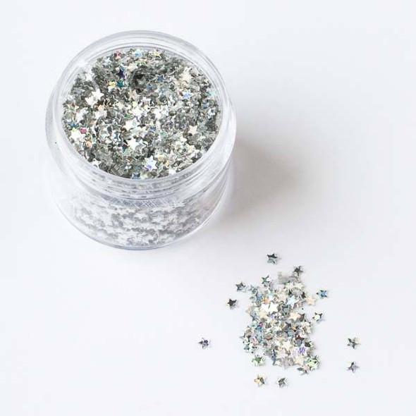 Silver AB Star Glitter - 15 gram container