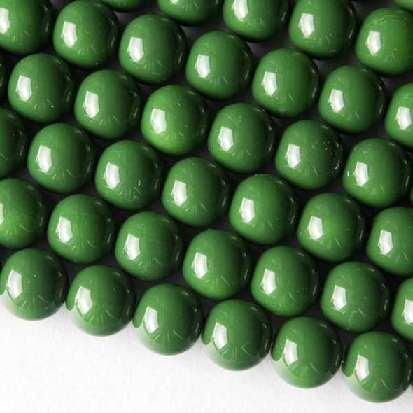 Glass 10mm Green Round - 16 inch strand