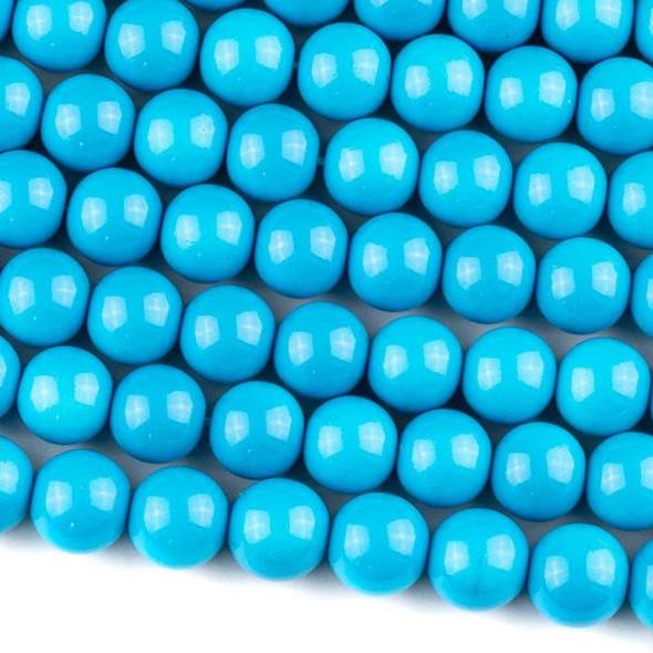 Glass 10mm Blue Round - 16 inch strand