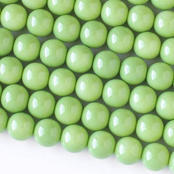Glass 10mm Light Green Round Beads - 16 inch strand