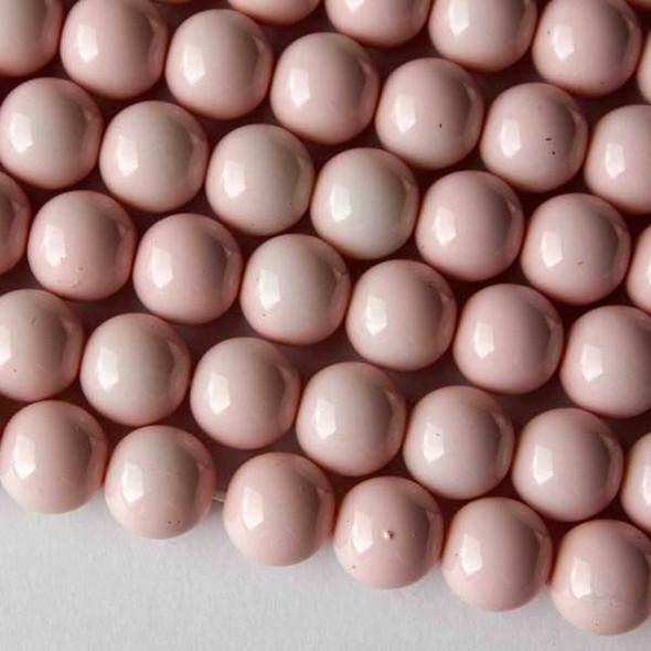Glass 10mm Light Pink Round - 16 inch strand