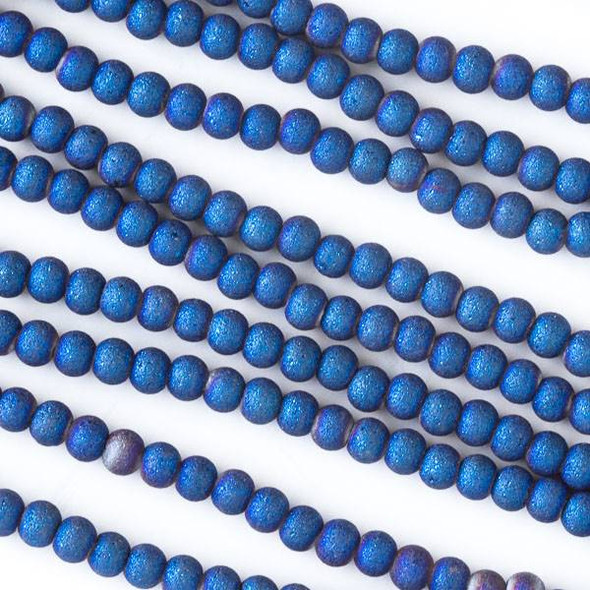 Glass 3mm Matte Blue Rainbow Round Beads - 16 inch strand