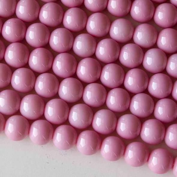 Glass 8mm Pink Round - 16 inch strand
