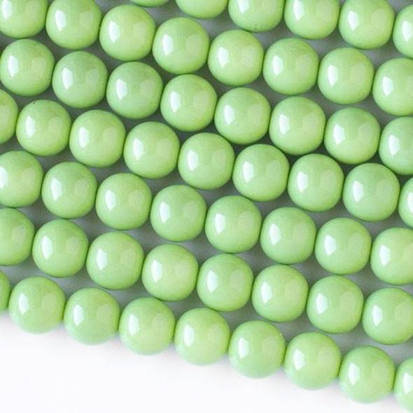 Glass 8mm Light Green Round Beads - 16 inch strand
