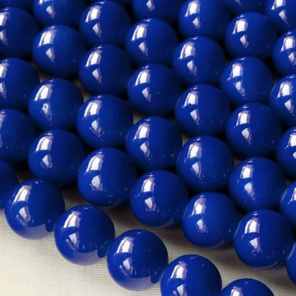 Glass 10mm Cobalt Blue Round - approx. 8 inch strand