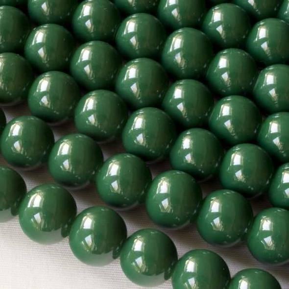 Glass 10mm Dark Green Round - approx. 8 inch strand