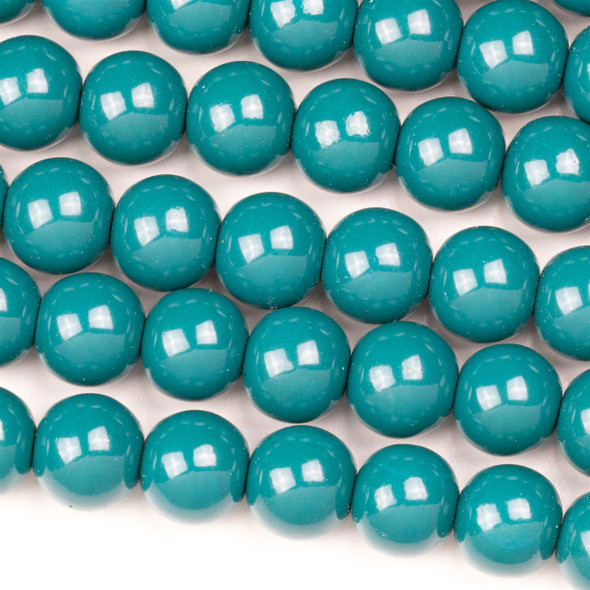 Glass 10mm Dark Turquoise Round - approx. 8 inch strand