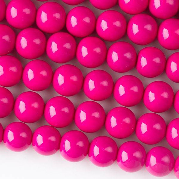 Glass 10mm Hot Pink Round - approx. 8 inch strand