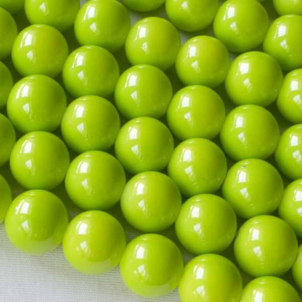 Glass 10mm Lime Green Round - approx. 8 inch strand