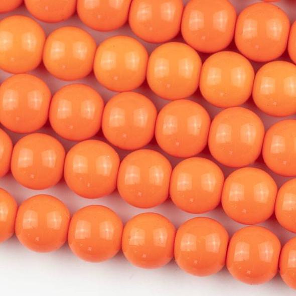 Glass 10mm Dark Mango  Orange Round - approx. 8 inch strand