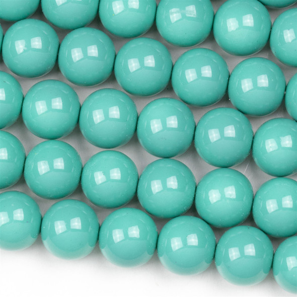 Glass 10mm Light Turquoise Round Beads - approx. 8 inch strand
