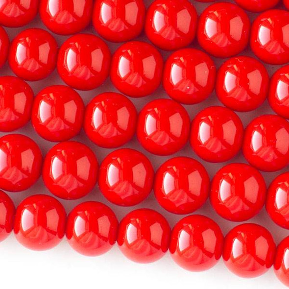 Glass 10mm Red Round - approx. 8 inch strand