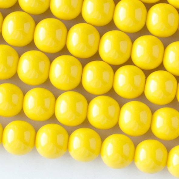 Glass 10mm Yellow Round - approx. 8 inch strand