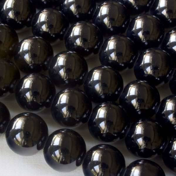 Glass 12mm Black Round - approx. 8 inch strand