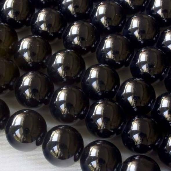 Glass 12mm Black Round - approx. 8 inch strand