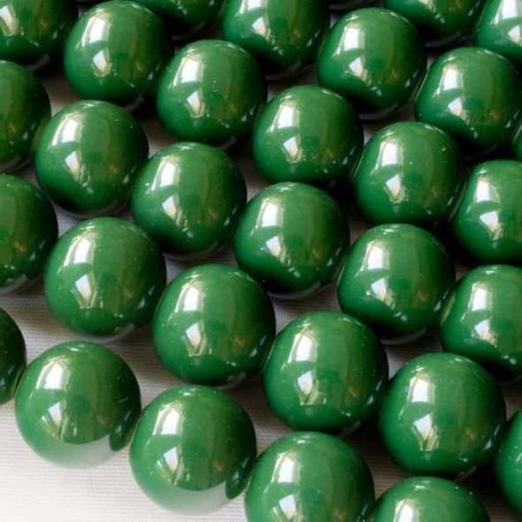 Glass 12mm Dark Green Round - approx. 8 inch strand